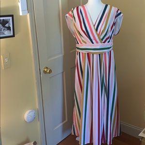 eshakti Dresses - EShakti Bold Stripe Surplus Maxi Dress